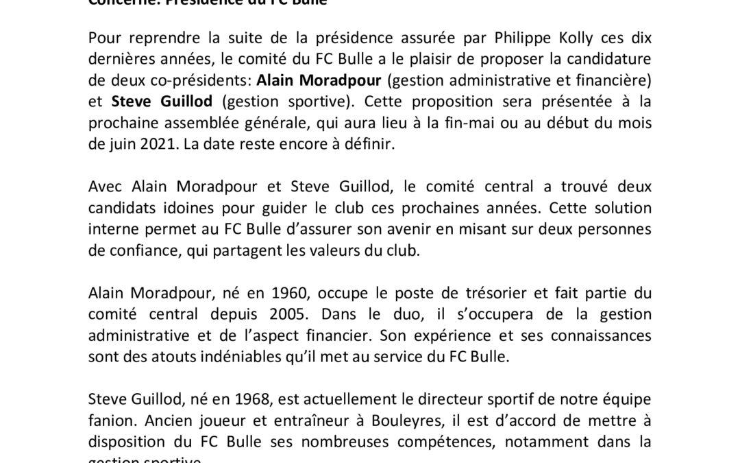 Alain Moradpour et Steve Guillod proposés comme vice-présidents